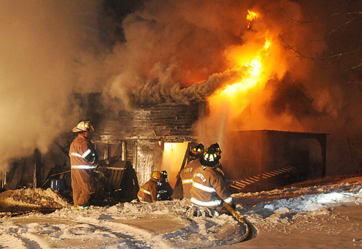 Brookfield Fire Department fights fire on Long Hill Rd